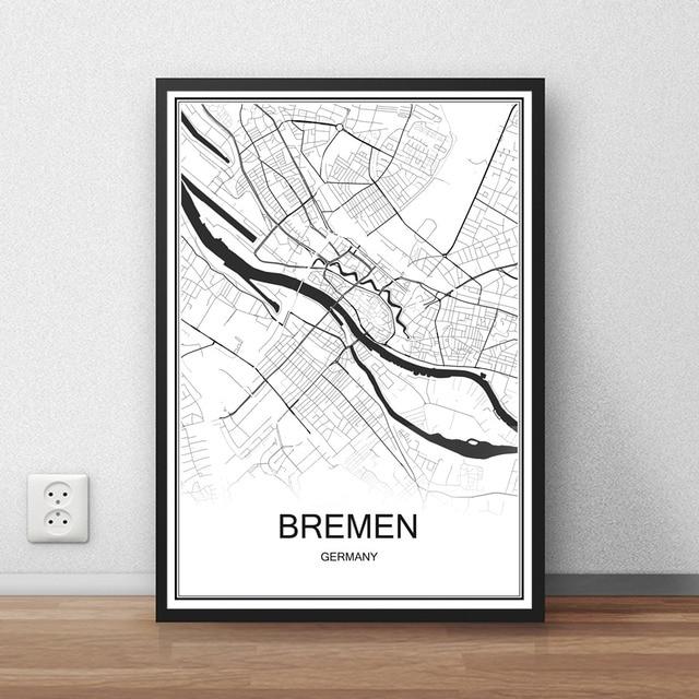 Bremen Deutschland Stadtstrasse Karte Drucken Poster Abstrakt