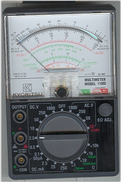 KYORITSU 1109S Analogue Multimeter with case DC 0.1/0.5/2.5/10/50/250/1000V AC 10/50/250/1000V  цены