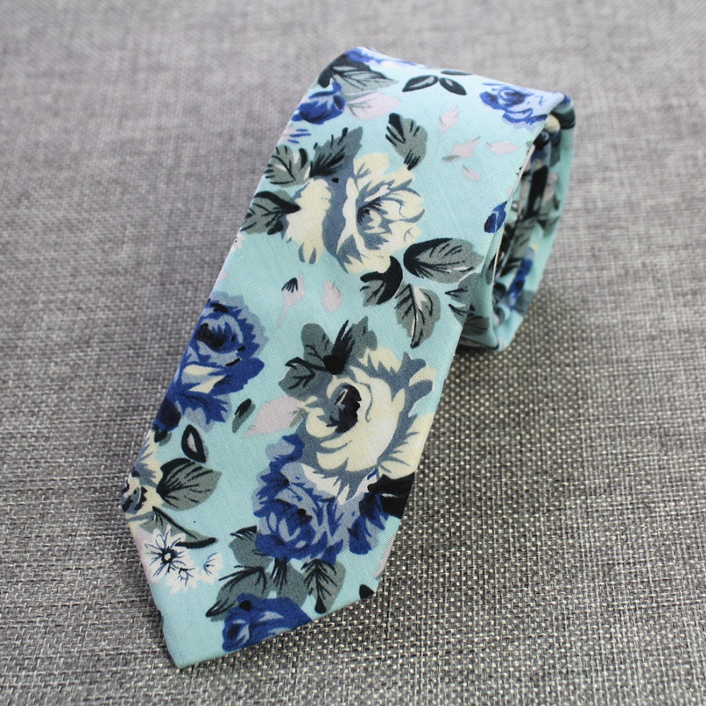 RBOCOTT Retro Floral Ties Paisley Tie 6cm Cotton Ties For Men Fashion Casual Slim Neckties Skinny Ties For Wedding Party Suit