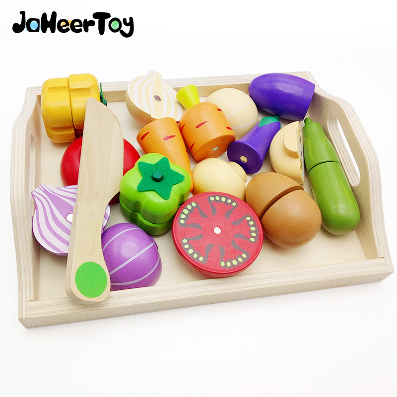 JaheerToy Wooden Kitchen font b Toys b font Set Cut Vegetables font b Toys b font