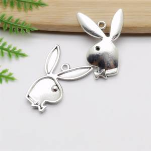 Classic Pendants Jewelry-Findings Bracelet Charms-Fit DIY Rabbit Wholessale Vintage 40pcs/Lot