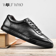 Shoes Men Handmade Brand Genuine leather Men Flats Shoes Classic White Black Lace Up Casual Shoes Zapatos Hombre