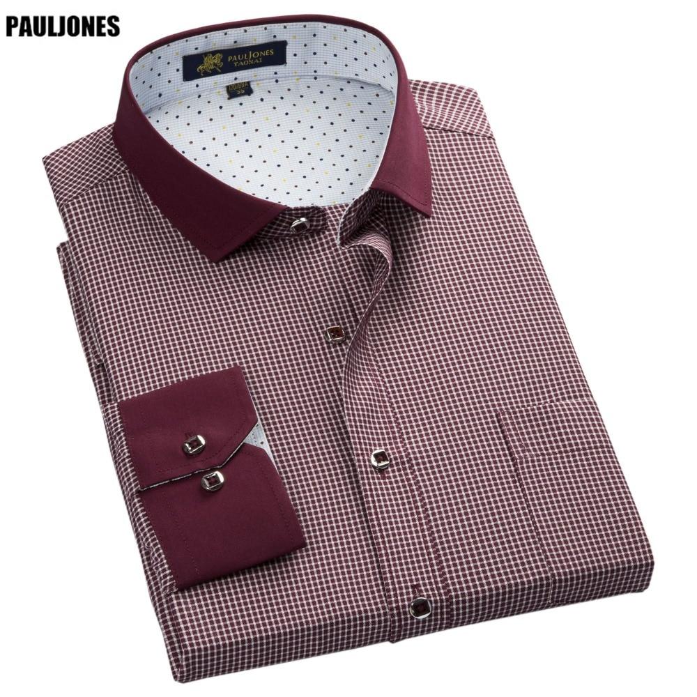 PaulJones 57xx 저렴한 칼라 디자인 긴 소매 망 스트라이프 셔츠 캐주얼 사회 복장 남자 격자 무늬 셔츠 고품질 남성 의류