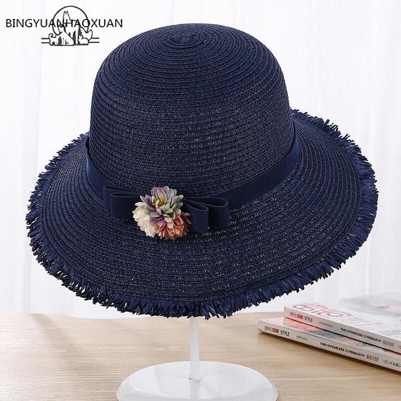 BINGYUANHAOXUAN Handmade Weave Sun Hats For Women Lace Up Wide Straw Hat Outdoor Beach Summer Caps Cap Feminino Beach Hat in Men 39 s Sun Hats from Apparel Accessories