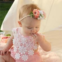 2019 Clothing Sleeveless Rompers Newborn Infant Baby Girl Clothes Lace Floral Romper Clothes Outfits 2018 summer newborn baby girl kids flower lace crochet romper jumpsuit clothes cotton sleeveless tutu rompers princess clothing