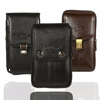 For Cubot X18 Plus Belt Bag Men Genuine Leather Belt Bag Vintage Phone Pouch Multi Function