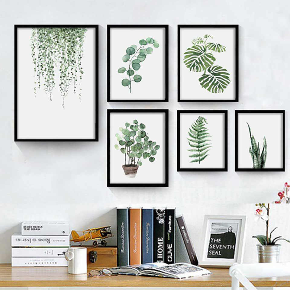 Green Plants Poster Leaves Wall Art Canvas Painting Nordic Style Watercolor Prints Home Decor Modular Pictures Living Room