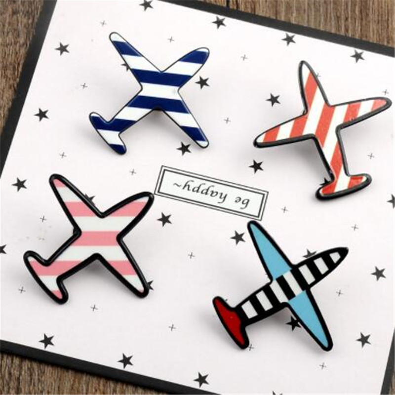WKOUD Airplane Brooches set Cartoon Plane Aircraft Brooch for boys girls Backpack Bag Clothes Collar Lapel Pins Button Badge image