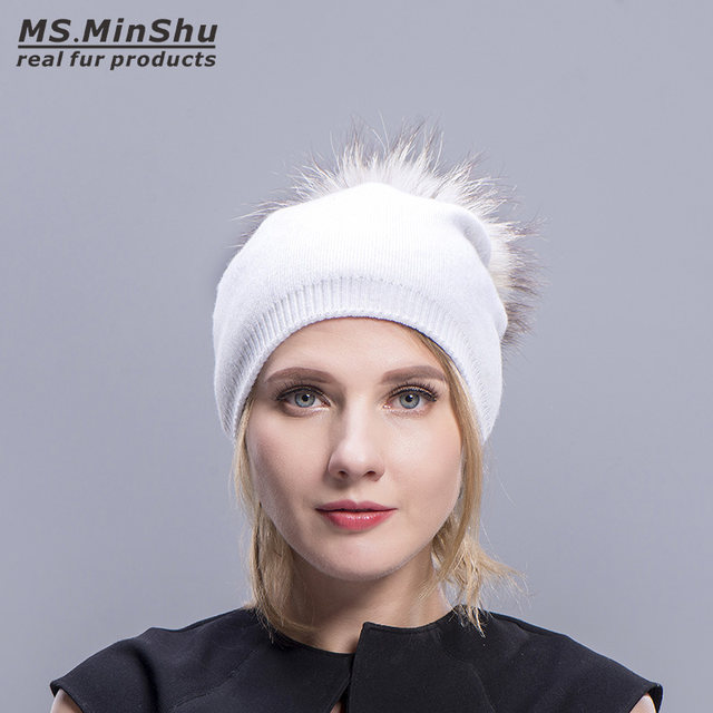 7f2a48e32bc Ms.MinShu Cashmere Cap with Real Fur Pompom Unisix Beanies Fur Hat Winter  Autumn Bobble Hat With Big Fox Fur Ball Fashion Cap