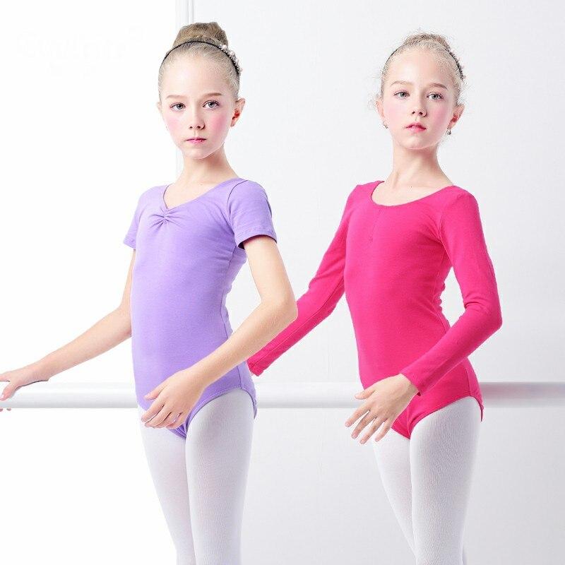 Cotton Long/Short Sleeves Ballet Leotards Ballerina Bodysuit Girls Dance Costume Ballet Leotards Ballet Clothes Ballet Dancewear