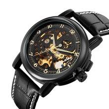 MG. ORKINA Negro Esquelético de Oro Correa de Cuero Reloj Mecánico Automático de Los Hombres Reloj Luminoso Manos erkek saat