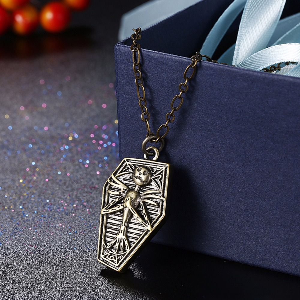 Retro Antique bronze smile jack Polygon pendants necklace N924 Christmas Day gifts Womens gift pouches free