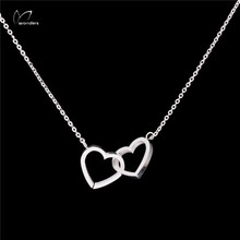 10pcs lot Steampunk Gothic Vintage Double Heart Necklace Stainless Steel Collares Bijoux For Women Wedding Jewelry