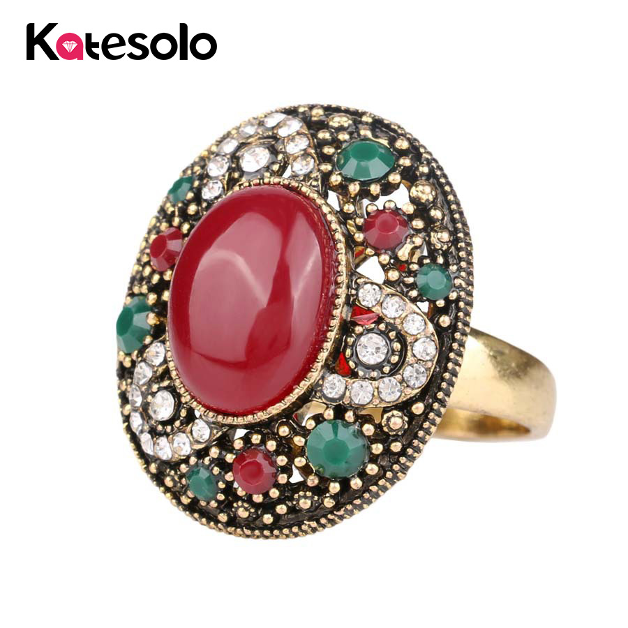 Big Red Green Stone Ring For Women Bohemian Vintage Turkish Jewelry Antique Gold Color Unique Finger Anel Crystal Resin