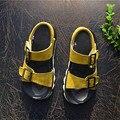Мальчики кожаные сандалии дышащая обувь Из Натуральной кожи дети сандалии мальчиков