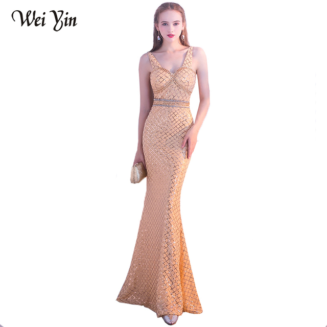 WeiYin Luxury Long Evening Dress Sequin Mermaid Evening Gown Deep V Black Golden  Formal Prom Dresses 0dfe5cf3ea30