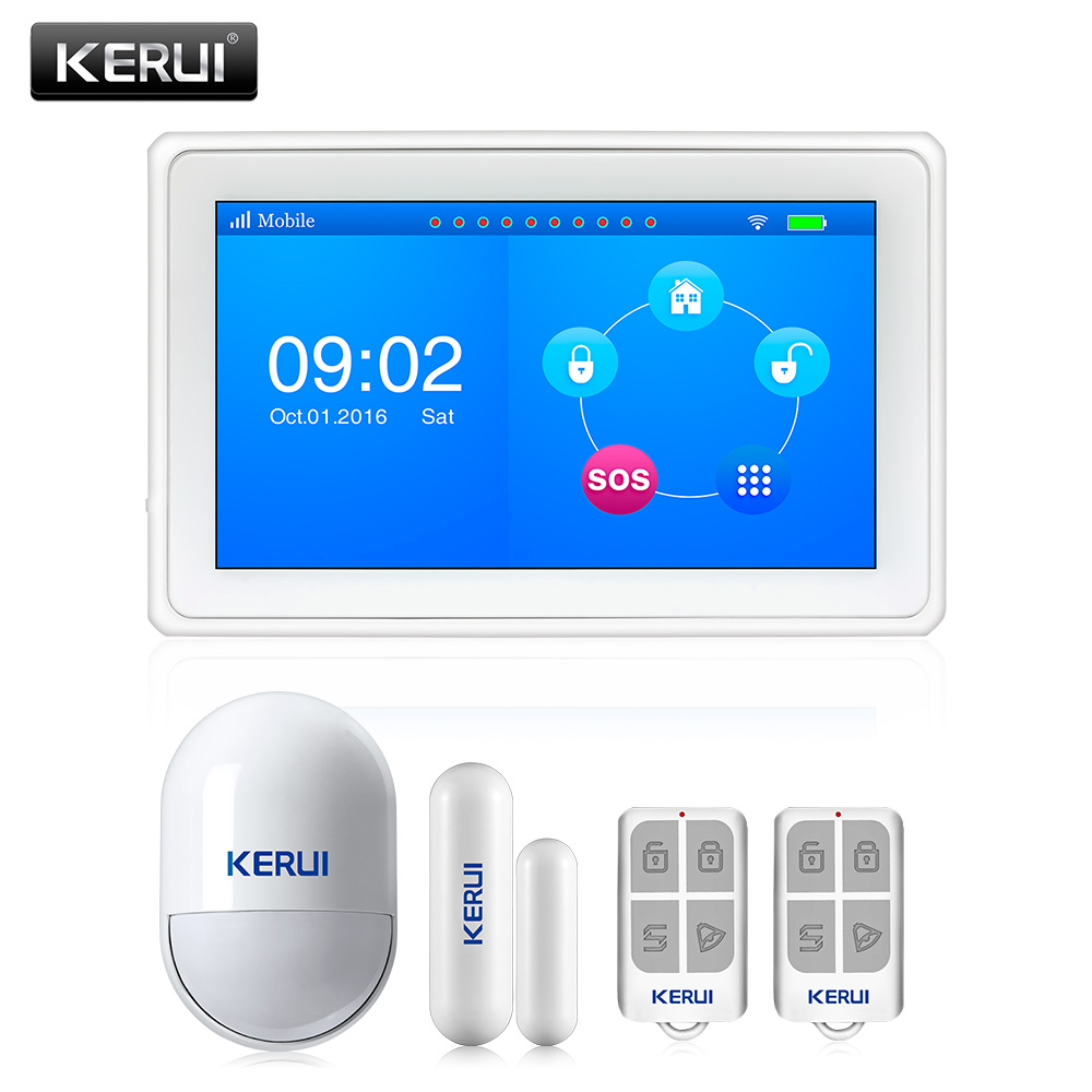 KERUI K7 White Large TFT Color Screen WIFI GSM Alarm System Home Motion Sensor Alarm Kit ISO Android App Security Control