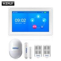 KERUI K7 белый большой TFT цветной экран Аварийная сигнализация wifi gsm домашний датчик движения сигнализация комплект ISO Android приложение контроль ...