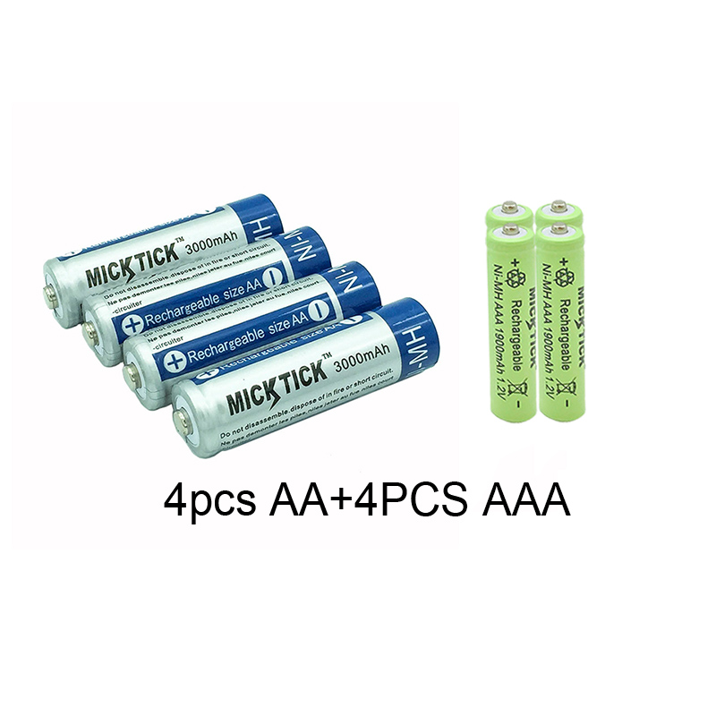 USB Charger 8x AA Batteries Bulk Wiederaufladbare NI-MH 3000mAh 1.2V BTY