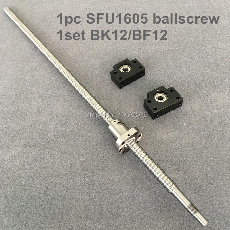 цена на RM 1605 ballscrew - L1100/1200/1500mm with end machined+ 1605 Ballnut + BK12/BF12 for CNC parts