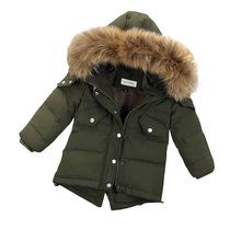 Children Winter Coat Boy White Duck Down Jackets Real Fur Hooded Warm Winter Kids Clothes Boys Outerwear Jackets DQ639