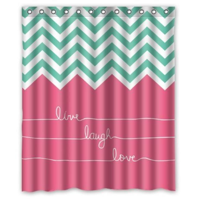 Hipster Live Love Laugh In Teal And Chevron Custom Shower Curtain Pattern Waterproof For