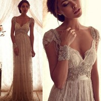 2016 Luxury Bohemian Style Sexy Backless Lace Beach Wedding Dresses Crystal Beaded Boho Bridal Gowns Robe