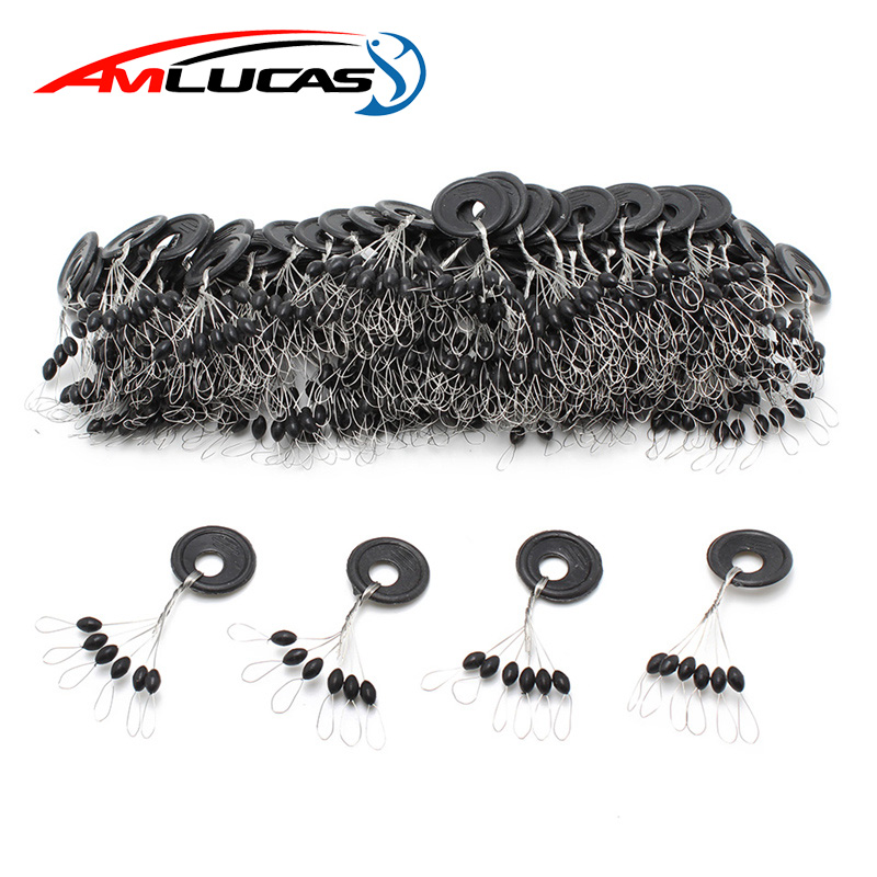 60pcs 10Group Black Space Beans Carp fly fishing equipment Not To Hurt The Vertical Line Stopper Fishing Line Resistance Tackle(China)