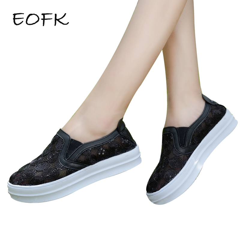 EOFK 2018 Brand Summer Black Women Casual Shoes Women Canvas Shoes Womens Air Mesh Breathable Platform Slip On Lace Shoe fashion womens casual shoes 2017 spring summer breathable women canvas shoes brand soft thick sole classic black white th085