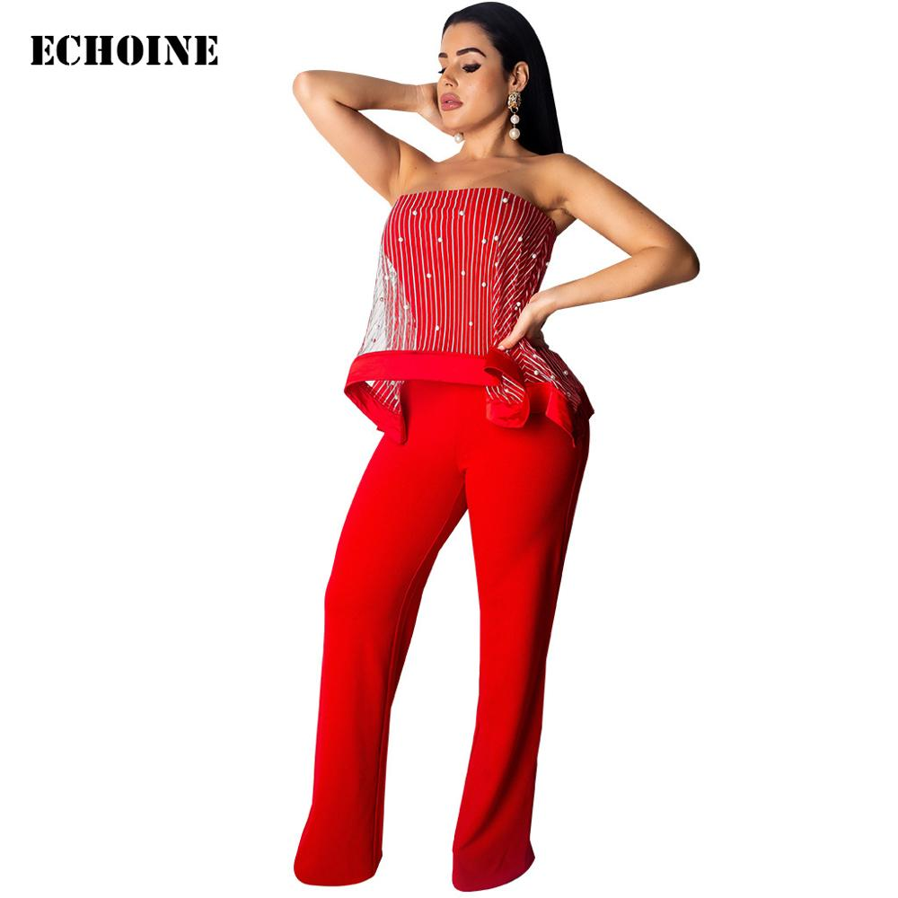 Echoine Red Sleeveless Strapless Jumpsuit Sheer Mesh pearl Rompers Women Slim  Elegant Wide Leg Overalls Party Playsuit