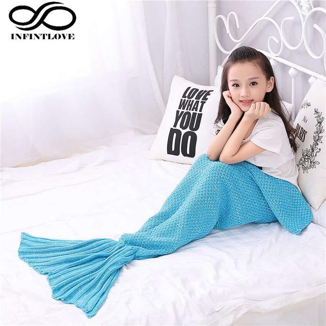 90*50 cm Niños Niñas Diseño de Moda Hecha A Mano Sofá Manta Saco de dormir Ganchillo Mermaid Tail Cocoon Playa Punto Quilt alfombra