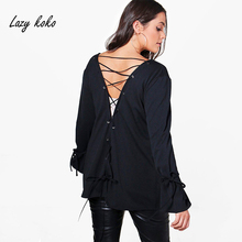 Lazy KoKo Women Plus Size Open Stitch Bandage Hollow Out Coat Flare Sleeve Solid Color Basic