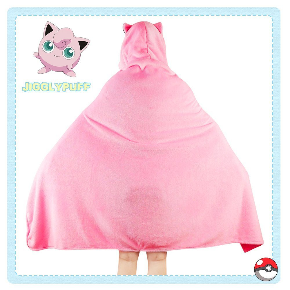 OJBK Hooded Cape Coat Anime Pokemon Cosplay Cloak Comfortable Otaku Girl Air conditioner Blanket Spring Winter Shawl Jigglypuff 1
