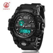 2017 OHSEN Brand Men Sports Watches gift box Military Waterproof Rubber Strap Quartz Digtal Watch Mens Fashion relogio masculino