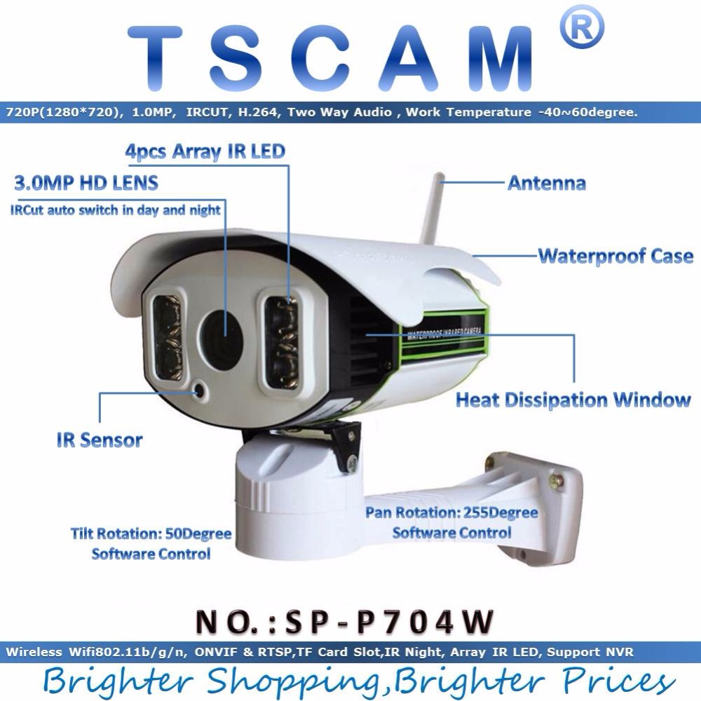 TSCAM new SP P704W 720P Wireless Wifi CCTV IP Camera outdoor HD with TF Micro SD