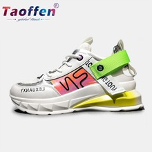 цены на Taoffen Candy Colors Fashion Ladies Sneakers Running Shoes Women Daily Outdoor Vacation Casual Walking Shoes Women Size 35-40  в интернет-магазинах