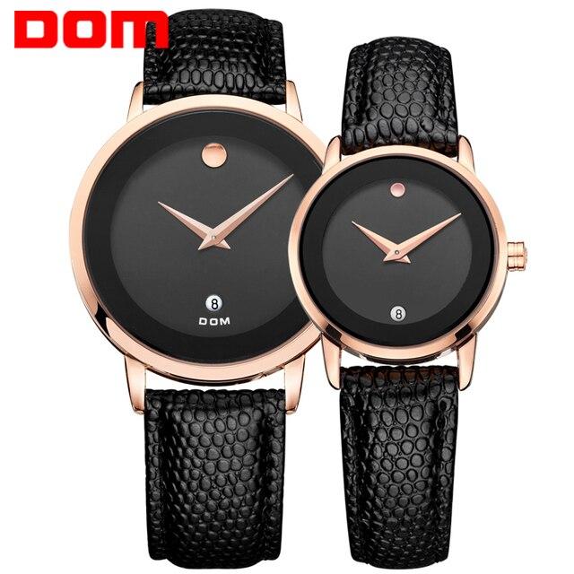 Dom amantes pareja relojes de marca de lujo impermeable del cuarzo del estilo del reloj de oro reloj de cuero ms-375 + gs-1075