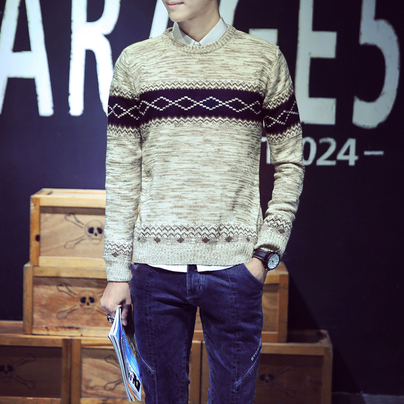 2017 Autumn New Trend O Neck Men Sweaters Knitted Long Sleeve Male Sweater Thickening Keep Warm