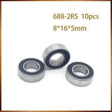10 pces 688-2rs 8*16*5mm ABEC-1 688 rs 688rs a vedação de borracha enseada parede fina rolamentos rígidos de esferas 688rs
