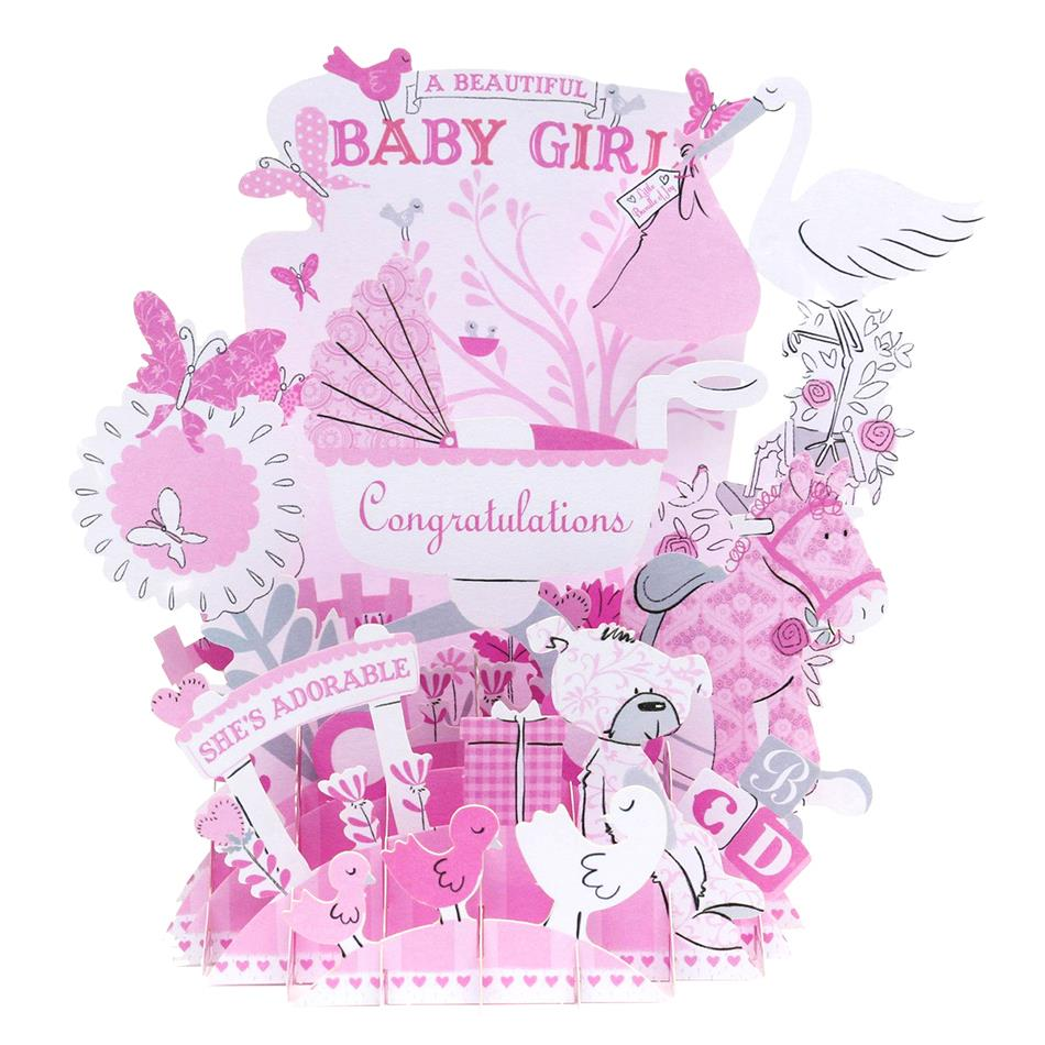 Baby Girl Baby Boy Shower Birthday Party 3d Pop Up Handmade Birthday