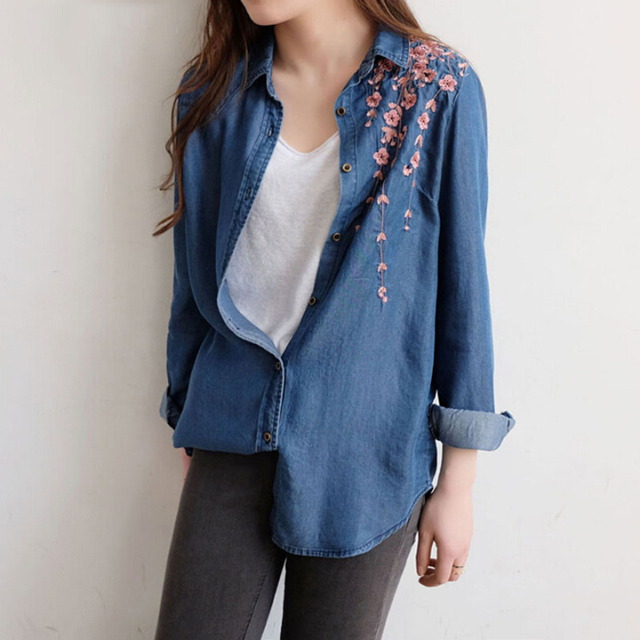 2017 Spring Summer Thin Female Flower Embroidered Denim Shirt Women Jeans  Blouse With Embroiderey