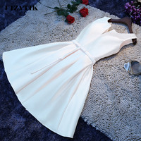 Bandage White Summer Dress Women 2019 Elegant Wedding Bridesmaid Formal Party Dress Casual Plus Size Slim Solid Mini Dresses 4XL
