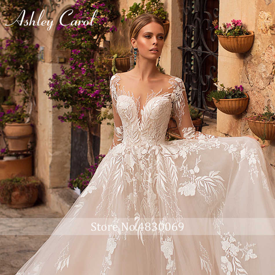 אשלי קרול סקסי V-צוואר אפליקציות טול שמלות כלה 2019 אשליה ללא משענת ארוך שרוול נסיכת חלום אונליין חתונה שמלות