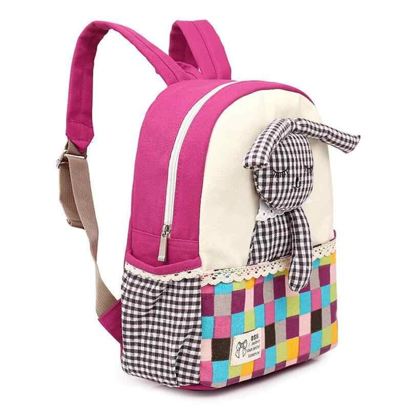 Новые милые детские школьные сумки, рюкзак для детей дошкольного возраста с изображением кролика, высококачественный тканевый молодежный рюкзак для девочек