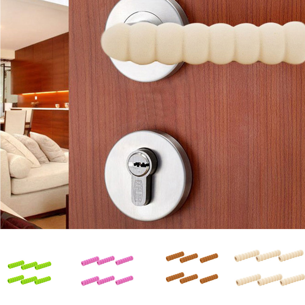 Anti-Collision Door Handle Cover Child Safety Super Soft Foam Safety Spiral Cover For Hot Doors Non-Toxic 4 Pcs Cream