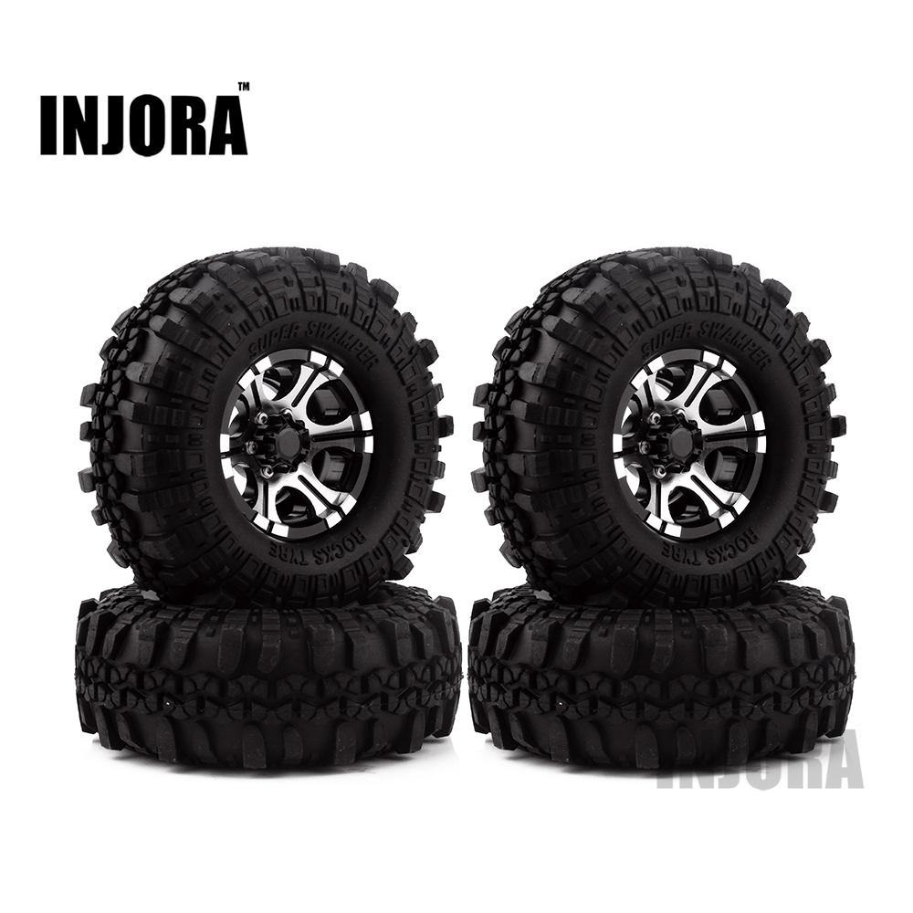 4PCS 1.9 Rubber Tires & Metal Beadlock Wheel Rim for 1:10 RC Rock Crawler Axial SCX10 90046 90047 Tamiya CC01 D90 D mxfans rc 1 10 2 2 crawler car inflatable tires black alloy beadlock pack of 4