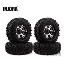 4PCS 1.9″ Rubber Tires &  Metal Beadlock Wheel Rim for 1:10 RC Rock Crawler Axial SCX10 90046 90047 Tamiya CC01 RC4WD D90 D
