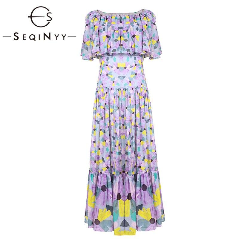 SEQINYY robe mi-longue 2019 été nouveau Design de mode cape manches drapées a-ligne femmes de haute qualité violet fleurs imprimé robe