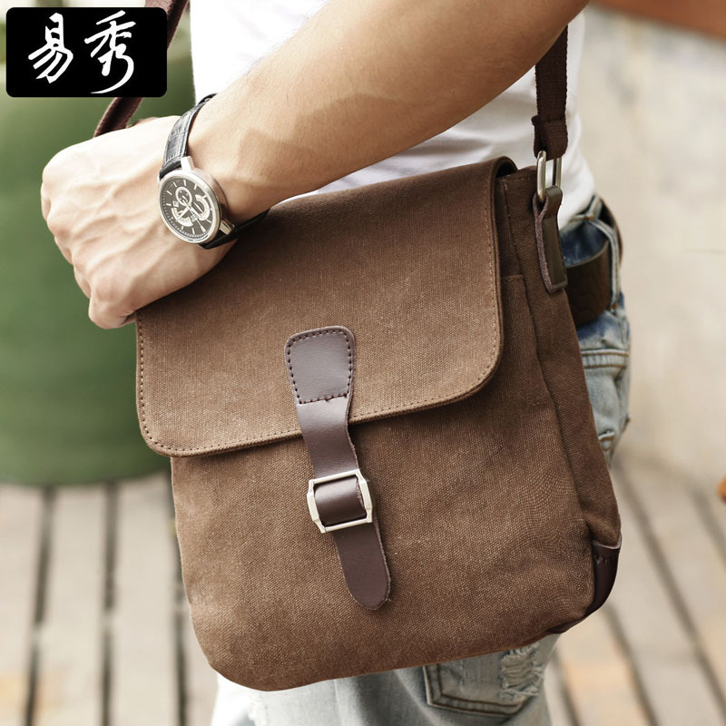 Aliexpress.com : Buy Eshow Men Bags Small Brown Man Bag Men Canvas ...