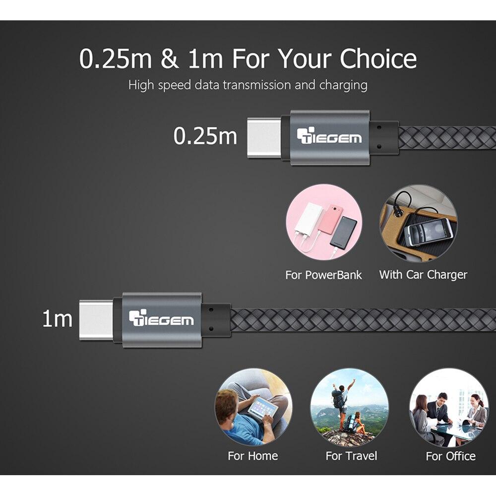 TIEGEM 1M 2M 3M USB Type C մալուխ USB-C բջջային - Բջջային հեռախոսի պարագաներ և պահեստամասեր - Լուսանկար 5